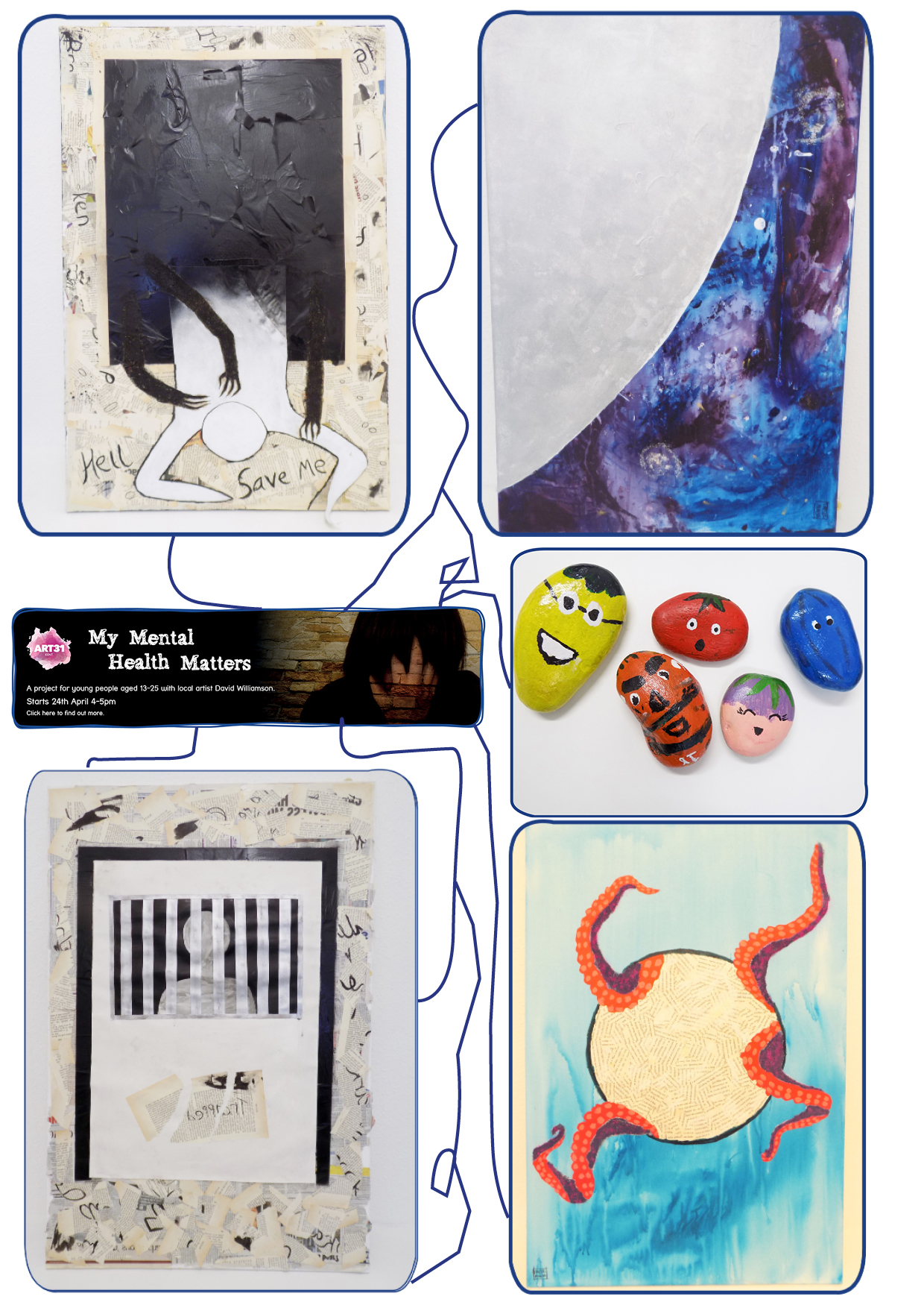 This image shows some of the artwork created as part of the Arts 31 Programme. The different formats of artwork here show things such as human figures, painted pebbles, newspaper-stylized artwork.