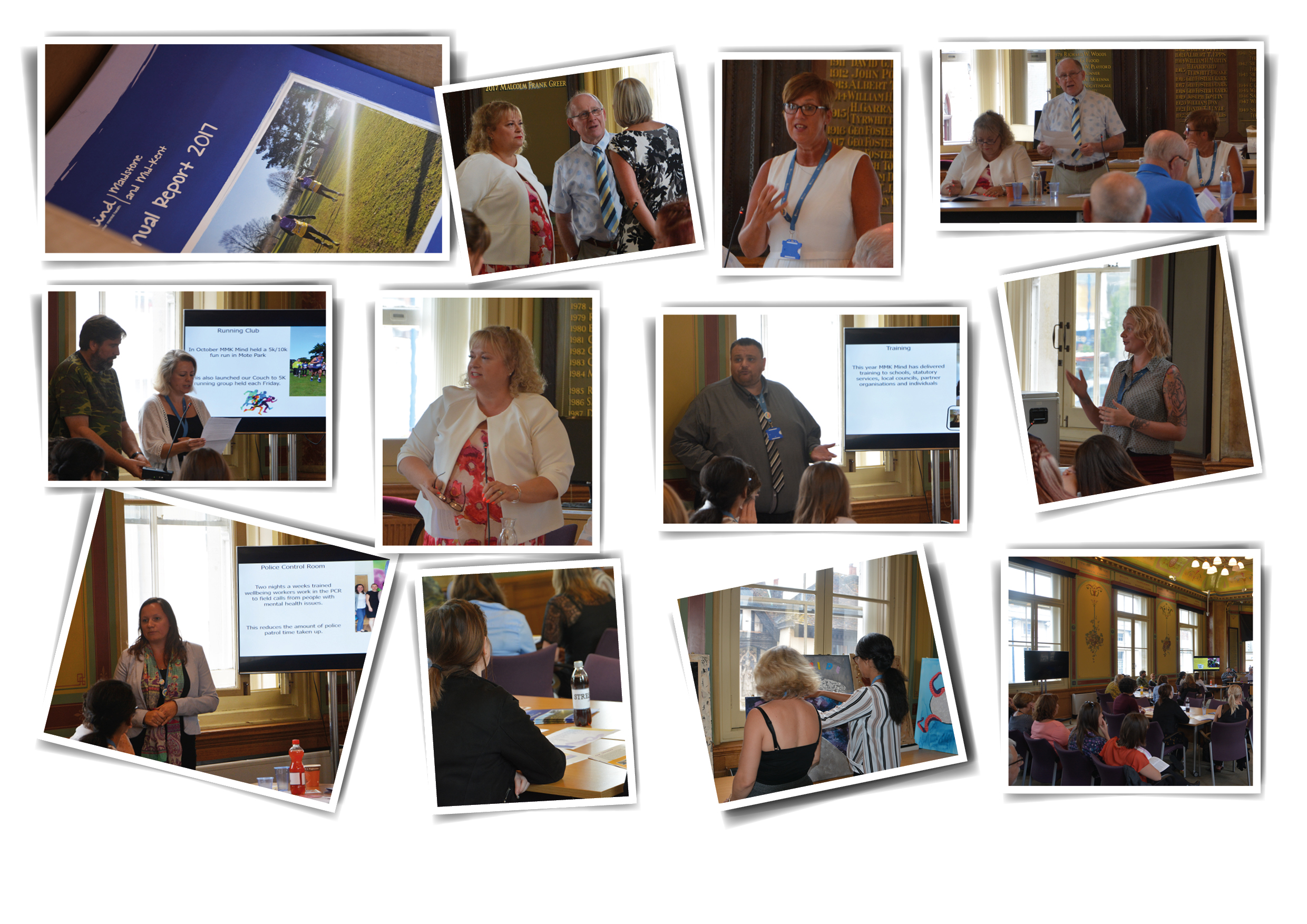 2017 AGM In Maidstone - Photographs from our 2017 AGM. A photograph of Annual Reports. A photograph of trustees Sue, Tim and Hazel. A photograph of Julie Blackmore giving a speech. A photograph of Tim giving a speech. A photograph of Heidi and service user Jonathan giving a presentation about the Fun Run. A photograph of Sue giving a speech. A photograph of James giving a presentation. A photograph of Kelly giving a speech. A photograph of Kimberley giving a presentation. Photographs of the audience.