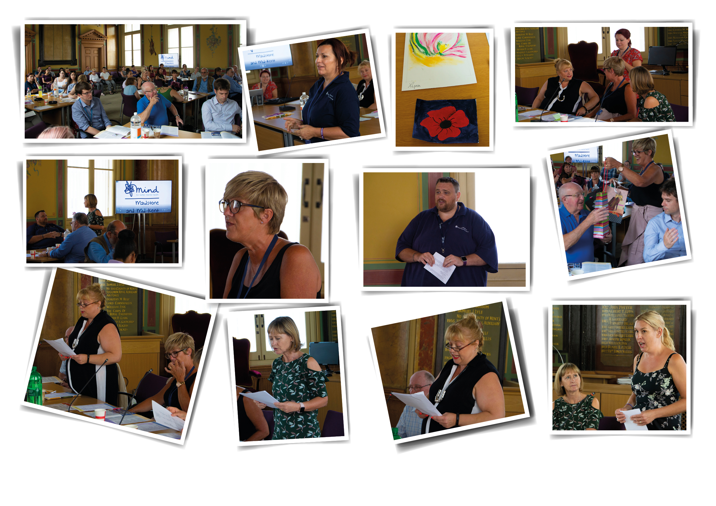 2018 AGM in Maidstone. Photos from our 2018 AGM in Maidstone. First photograph shows the audience sitting in the council chamber at Maidstone Town Hall. Second photograph shows Suzanne giving a talk at the event. The third photo is some colourful artwork of line art and a poppy presented by a service user. The fourth photo shows Sue, Julie, Hazel and Heidi conversing. The fifth photo demonstrates some of the attendees networking. The sixth photo shows Julie looking out at the audience. The seventh photo shows James giving a presentation to audiences. The eighth photo shows Julie handing a gift to a volunteer who has helped the organisation. The ninth photo shows Sue presenting the Chairperson's speech to the audience. The tenth photo shows Hazel presenting the treasurer's findings. The eleventh photo is another photo of Sue's speech. The twelfth photo is a photo of Nicky Underwood talking about Therapeutic Drumming.