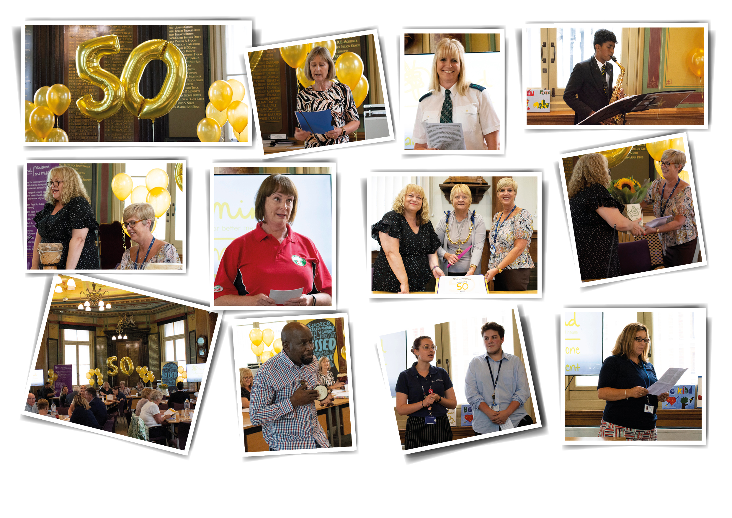 2019 AGM in Maidstone - Top left, 50th Anniversary Balloons. Picture of Hazel Webb, trustee and finance officer. Picture of Sarah, from Arriva, who spoke about how Suicide Prevention training had helped her. Picture of Kamren, from MGS, who played music for us. Picture of Sue and Julie at head table. Picture of Paula, from Kent Search and Rescue. Picture of Sue Grigg, Maidstone Mayor and Julie Blackmore. Picture of Julie and Sue exchanging flowers. Picture of room full for the AGM. Picture of Lucky playing music. Picture of Nicole and Tom. Picture of Suzanne.