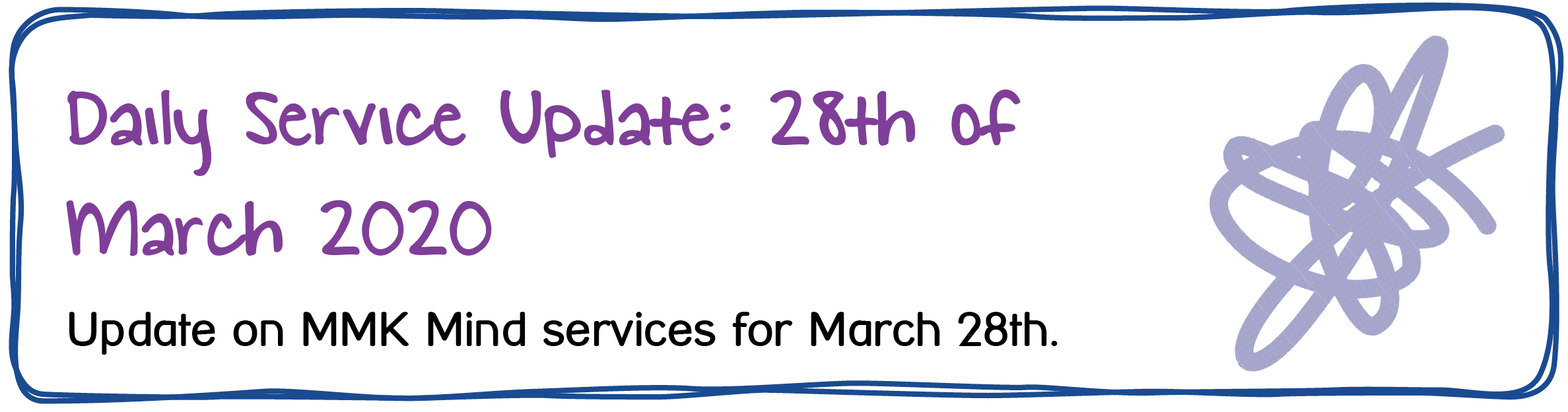 Daily Service Update: 28th of March 2020. Update on MMK Mind services for March 28th.