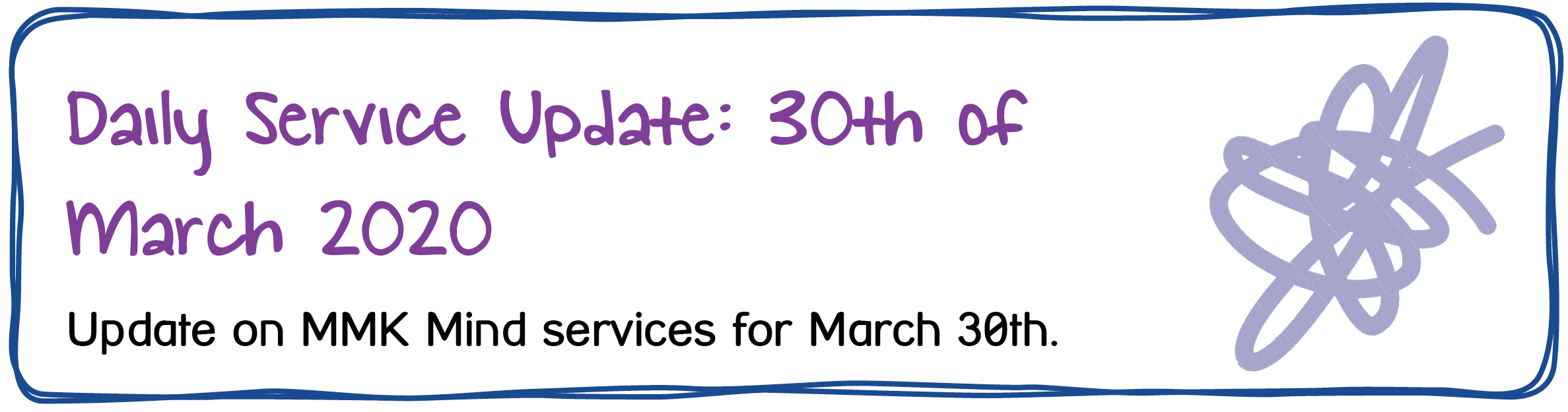 Daily Service Update: 30th of March 2020. Update on MMK Mind services for March 30th.