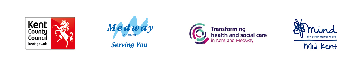 Kent County Council Logo. Medway Council Logo. Transforming Health and Social Care in Kent and Medway logo. Mid-Kent Mind logo.