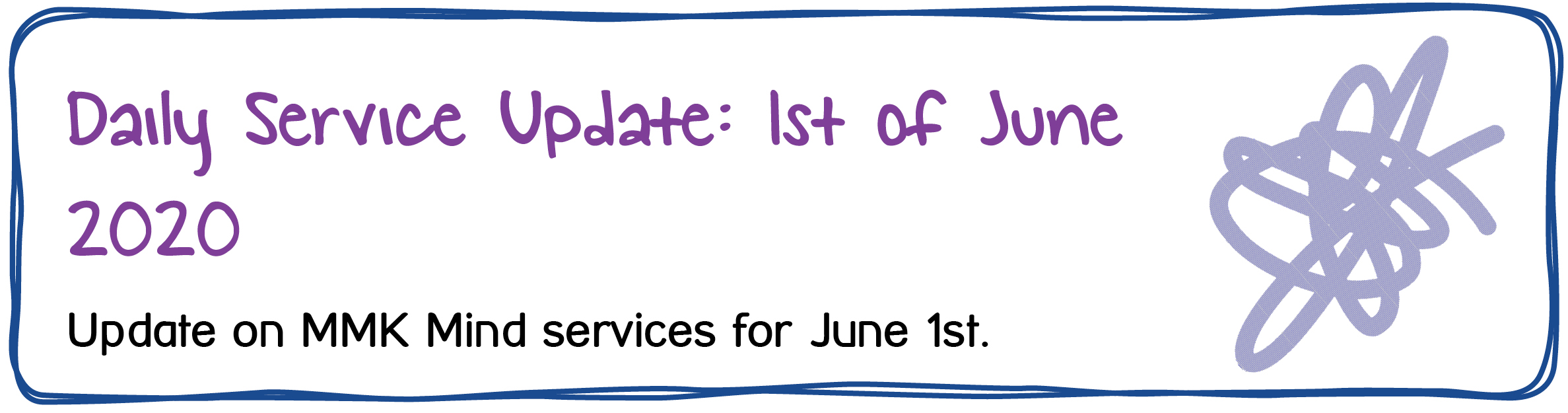 Daily Service Update: 1st of June 2020. Update on MMK Mind services for June 1st.
