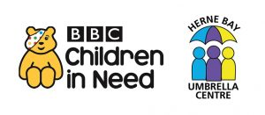 Bounce Back - BBC Children In need and Herne Bay Umbrella logos