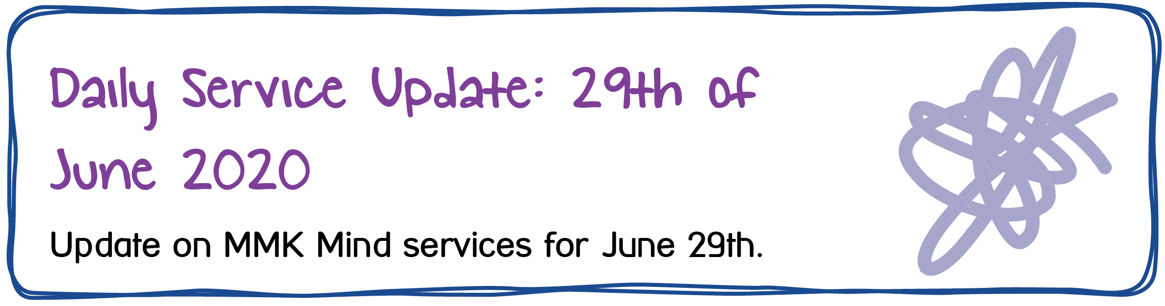 Daily Service Update: 29th of June 2020. Update on MMK Mind services for June 29th.