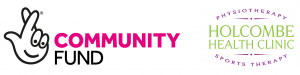 Virtual Yogalates - National Lottery Community Fund and Holcombe Health Clinic Logos