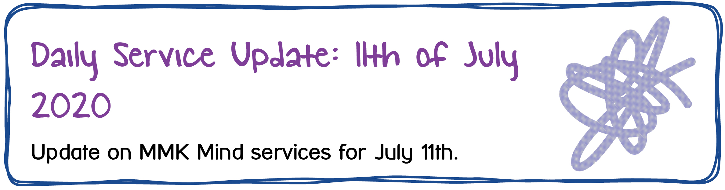 Daily Service Update: 11th of July 2020. Update on MMK Mind services for July 11th.