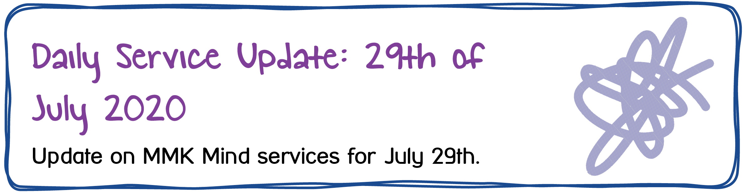 Daily Service Update: 29th of July 2020. Update on MMK Mind services for July 29th.