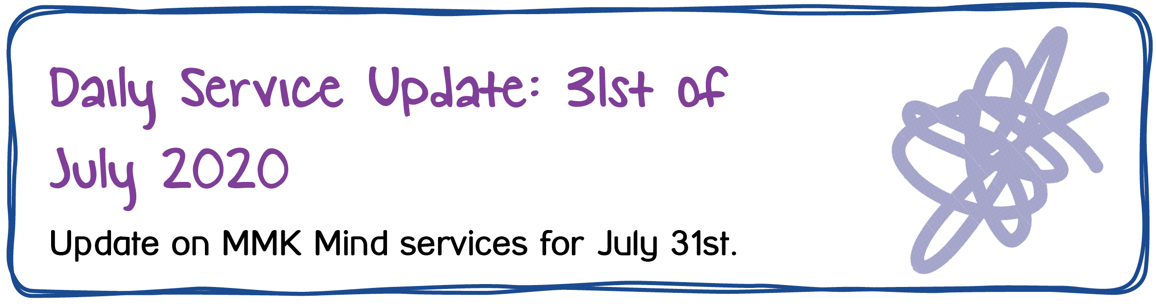 Daily Service Update: 31st of July 2020. Update on MMK Mind services for July 31st.