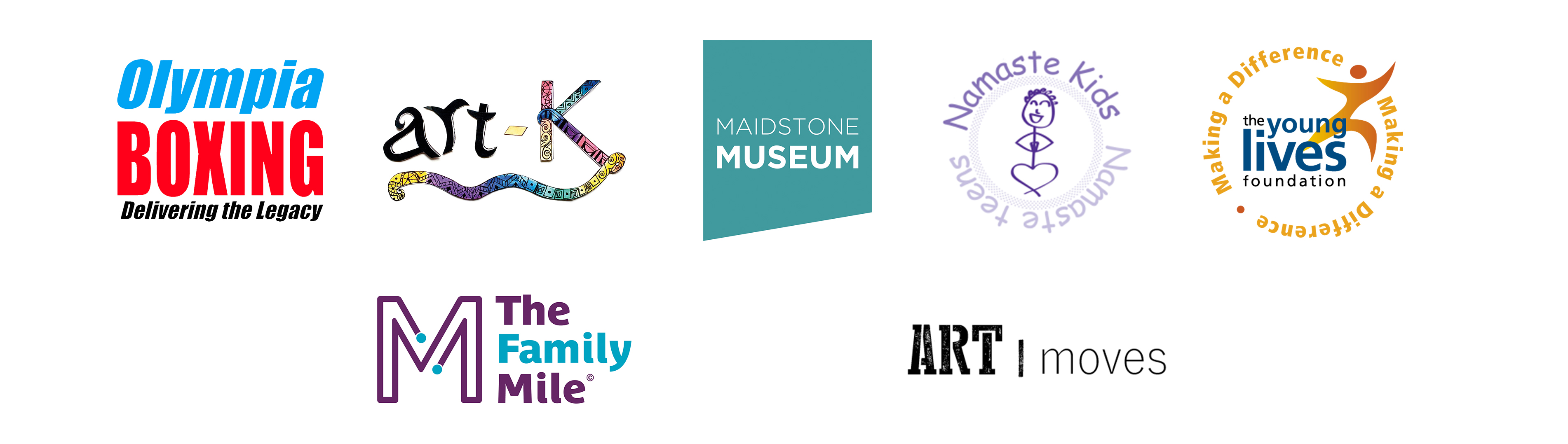 Event Partner Logos - Olympia Boxing, Art-K Maidstone, Maidstone Museum, Namaste Kids, Art Moves, The Family Mile and Young Lives Foundation