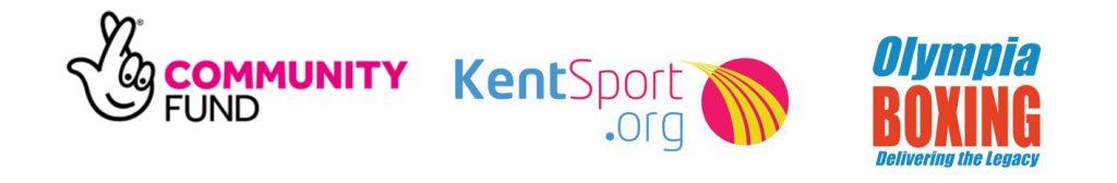 Community Fund Logo, Kent Sport Logo and Olympia Boxing Logo